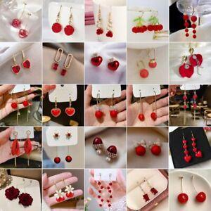 Fashion Flower Long Tassel Pearl Stud Earrings Dangle Women Wedding Jewelry Gift
