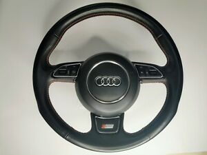 AUDI A1 S1 A6 A7 A8 S-LINE STEERING WHEEL AND MODULE  WITH RED STICHING AIRBAG