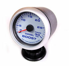 Diesel Boost Gauge 30psi Blue Back Light Silver Rim 65mm VW TDI Golf Bora BMW