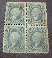 Us Stamp Scott# R18c Proprietary Washington 1862-71 Blk of 4 L123