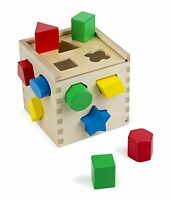 Melissa & Doug Shape Sorting Cube  Classic Wooden Toy With 12 Shapes