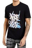 INC Mens T-Shirt Black Large L Holographic City Graffiti Crewneck Tee $29- 067