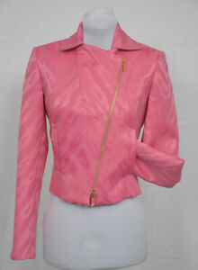 ETCETERA PINK ABSTRACT ANIMAL PRINT CROPPED MOTORCYCLE JACKET size 0 NWT $310