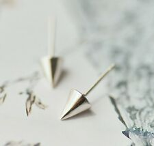 Women Men 6mm Sterling Silver Spike Cone Punk Stud Earrings Gift Box I10