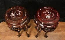 Pair Chinese Chippendale Side Pedestal Table Stands Mother Pearl Inlay