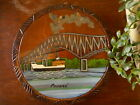 "Vintage Panama Souvenir Boat Ship Bridge Water Wood Round Wall Hanging 11"" Paint"