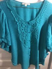 Spense Women Blouse SzM Made In China Button Down Flare Sleeves Petite