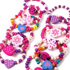 12 Pretty Bead Bracelets Girls Birthday Bag Filler Children's Party Favour Pink
