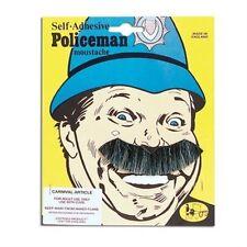 Black & Grey Laughing Policeman Moustache Tash Fancy Dress Mens Adult NEW P582