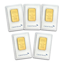 Bank Wire Payment. 1 oz Gold Bar Credit Suisse In Assay -Lot of 5