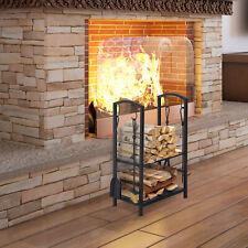 Indoor Outdoor Firewood Rack Log Holder Wood Storage with Hooks 4 Tools Black