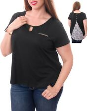T47 Womens Black Plus Size 14/16 Short Sleeves Club Party T-Shirt Blouse Tops