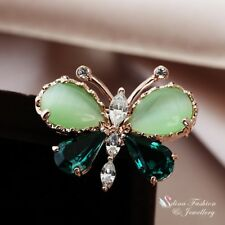 18K Rose Gold Plated Made With Swarovski Crystal & Opal Butterfly Emerald Brooch