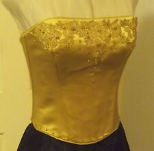 GOLD SILK CORSET TOP, BEADED GUIPURE LACE,LACE UP BACK, S 10/12, NEW, AUSTRALIAN