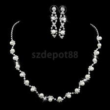 White Pearl Crystal Rhinestone Necklace Earrings Bridal Wedding Jewelry Set