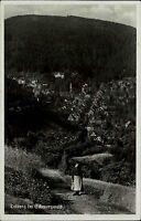 Triberg im Schwarzwald s/w Postkarte 1938 gelaufen Blick in das Tal Totale Frau