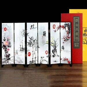 Desktop Decoration Fold Screen Table Lacquer Mini Folding Screen Room Dividers