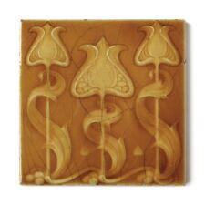 Antique Tile Art Nouveau Aesthetic H & R Johnson Floral Tulips Iridescent Amber