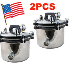 2PCS Portable Steam Autoclave Sterilizer Dental Equipment Stainless Steel Seal**