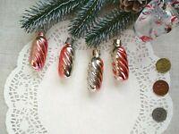 Vintage Christmas Glass Ornaments Set Soviet Pink Silver Xmas 147