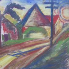 MONOGRAMMIST KLK datiert 1957 DORF EXPRESSIONISMUS !! Expressionist Landschaft
