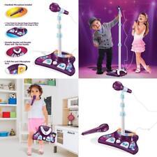 Máquina de karaoke niños + 2 micrófonos y soporte ajustable, luces intermitentes