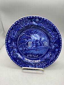 Historical Dark Blue Staffordshire Plate R Halls Fulham Church Middlesex