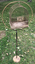 Antique Vintage Hendryx Copper Color Birdcage With Stand