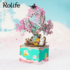 Rolife DIY Wooden Music Box Sakura Cherry Blossoms Home Decor Gift for Girl Kids