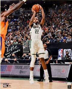 Milw Bucks  KHRIS MIDDLETON Signed 16x20 Photo #1 w/ 2021 NBA Champ AUTO JSA