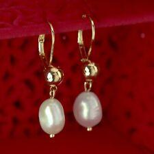 18k yellow gold gf freshwater pearl stud dangle drop bead ball classic earrings