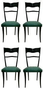 Set Four Chairs Wooden Design Italian Years 60 Vintage