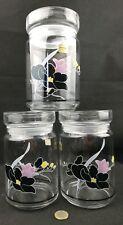 lot 3 bocaux LUMINARC vintage bocal en verre décor fleur noire FRANCE 17,5cm