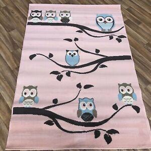 Quality Rose Pink Owl Kids Bedroom Rug Children's 120cm x 170cm Kid Owl Rug (259