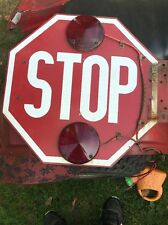 "Old Vintage Original Authentic Heavy Metal School Bus Stop Sign - 18"" x 18"""