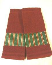 Longaberger Emerald Stripe Fabric Handmade 2 Kitchen Dish Towels
