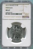 2013 France 10 Euro Silver Hercules. NGC MS67