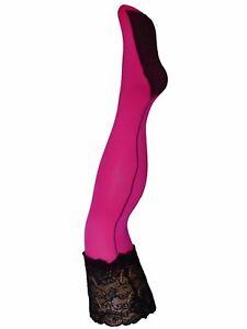 Halterlose Strümpfe mit Naht FIBROTEX Strapse Strumpfgürtel Pink schwarz Spitz