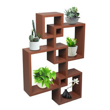 Intersecting Decorative Wall Mounted Shelf Display Rack Storage Shelving Brown