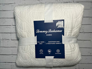 """tommy bahama home Full/Queen Quilt 90""""X90"""" White NEW"""