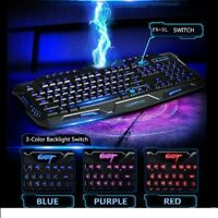 USB Wired Gaming Keyboard Illuminated Backlit Backlight Multimedia For PC Laptop