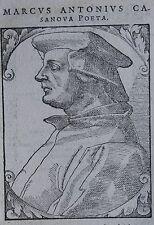 MARCUS ANTONIUS CASANOVA ,poete, Portrait, gravure 17 ème, texte au dos. Dimensi