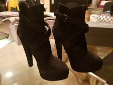 New Azzedine Alaia Boots Black Suede Platform Ankle Booties 36.5, 36