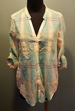 Holding Horses Anthropologie Green Peach Plaid Cotton 3/4 Long Sleeve Blouse 4