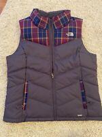 Womens North Face Puffer Vest 550 Size Large Purple Plaid Winter Vest