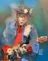 Abstract Portrait Stevie Ray Vaughn Blues Music Wall Art Original Painting SRV