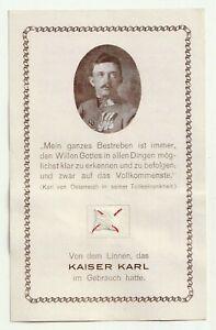 Kaiser Karl I. Andenken, Linnen im Gebrauch des Kaisers, Gedenkblatt