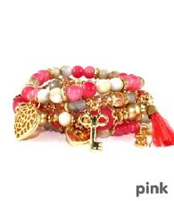Pink and Multi Colored Beaded Bracelet Set