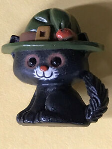 Halloween Hallmark Black Kitty Cat Wearing Witchy Hat Brooch Pin Jewelry