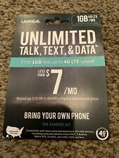 UNREAL Mobile - 1GB/Month 3 Month 4G LTE 3-in-1 SIM Kit